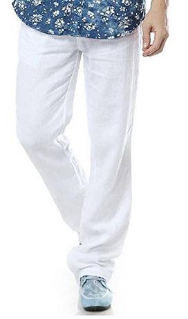 Najia Symbol Mens Casual Drawstring Waist 100% Linen Trousers .