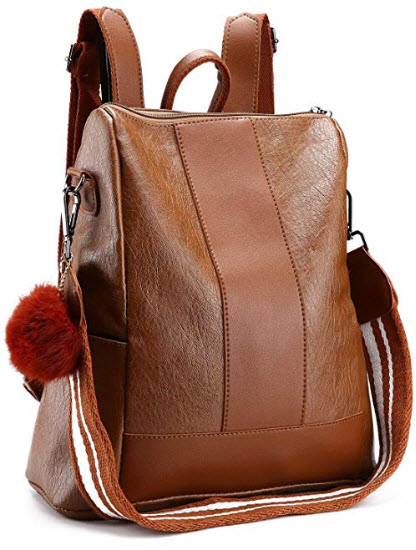 NaKita Women Travel Backpack Purse Waterproof Leather Shoulder Bag Anti-Theft Lightweight School ...