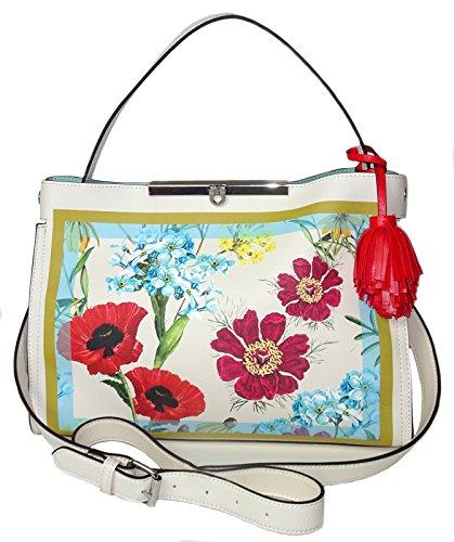 Nanette Lepore Handbag Athena Floral Satchel Faux Leather Shoulder Bag