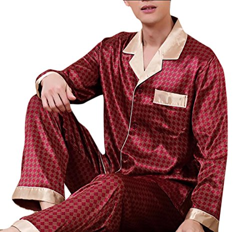 Nanquan-men clothes NQ Mens Warm Silk Satin Pajamas Set Sleepwear Loungewear