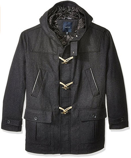 Nautica Men's Big and Tall Wool Toggle Coat.
