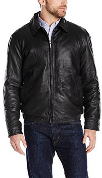 Nautica Men's Lambskin Leather Bomber Jacket