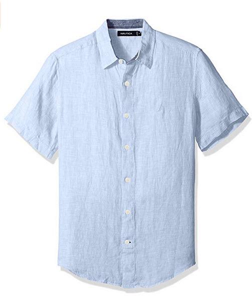 Nautica Men's Short Sleeve Classic Fit Solid Linen Button Down Shirt coastal sky
