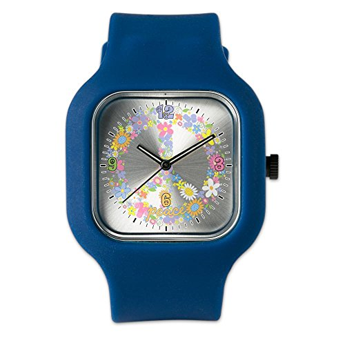 Navy Blue Fashion Sport Watch Floral Peace Symbol Sign by Royal Lion