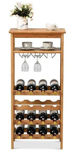 n-bright shop Store 16 Bottles Wine Rack Countertop Bottle Storage Free Standing w/Glass Hanger  ...