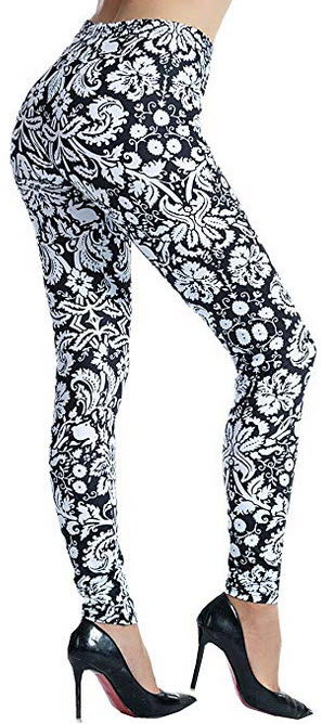 Ndoobiy Printed Leggings Basic Patterned Leggings Yoga Workout Leggings Women Girls Spandex Legg ...