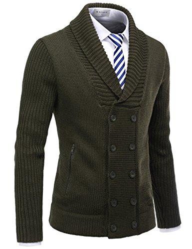 NEARKIN Mens Shawl Collar Double Button Down Winter Cardigan Sweater