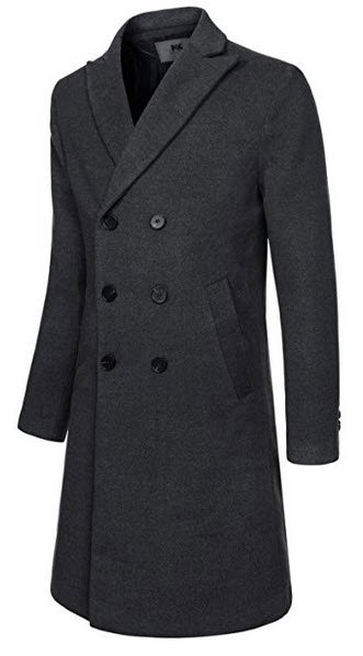 NEARKIN Mens Upturned Collar Unbalanced Wool Blend Checker Slim Fit Pea Coat.