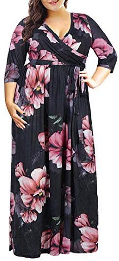 Nemidor Women's 3/4 Sleeve Floral Print Plus Size Casual Party Maxi Dress, pink flower