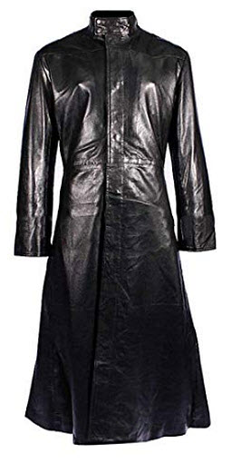 Neo Celebrity Keanu Black Leather Reeves Trench Matrix Coat, genuine leather