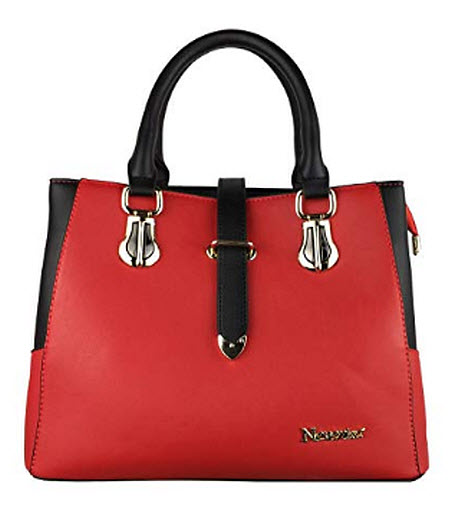 Nevenka Top Handle Handbag for Women Pu Leather Purse, red