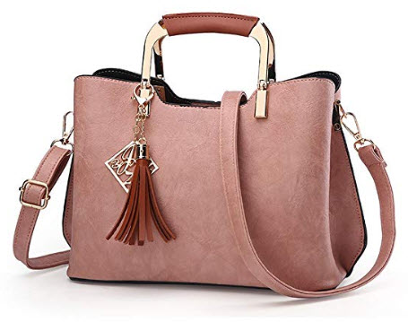 Nevenka Top Handle Handbags Wrinkled PU Leather Hard Bottom for women ladies girl, pink