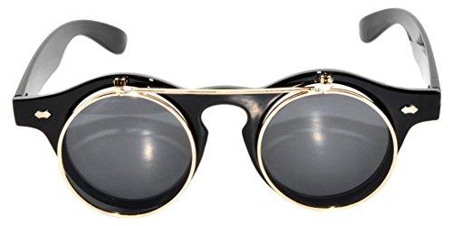 New Fashion Vintage Retro Steampunk Wayfarer Circle Flip Up Sunglasses