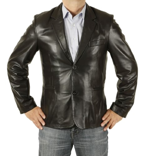 New Style Two-Button Black Fitted Leather Blazer