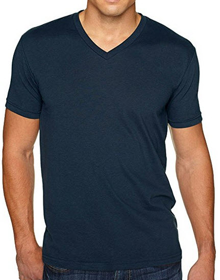 Next Level Apparel Men's premium cotton/suede blend v-neck t-shirt. (Midnight Navy) .