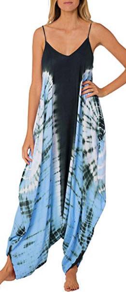 NGEAR Harem Jumpsuit Romper Bohemian Boho Loose Relax Fit Tie Dye Handkerchief Jumpsuit, turquoise