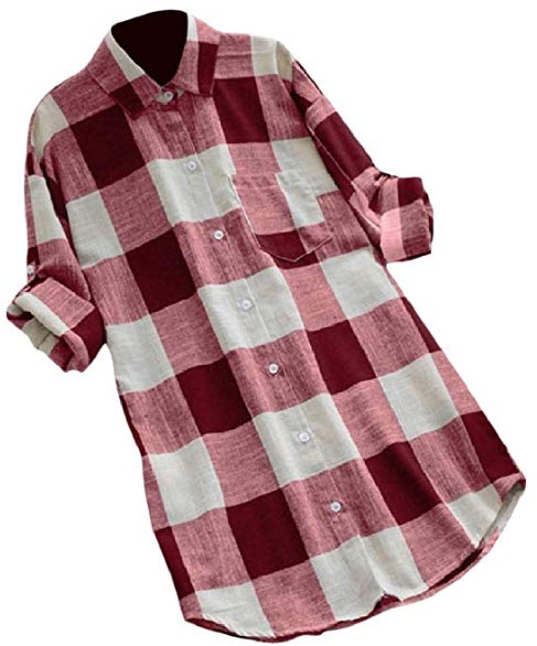 Nicelly Women Turn Down Collar Baggy Single-Breasted Plus Size Plaid Blouse