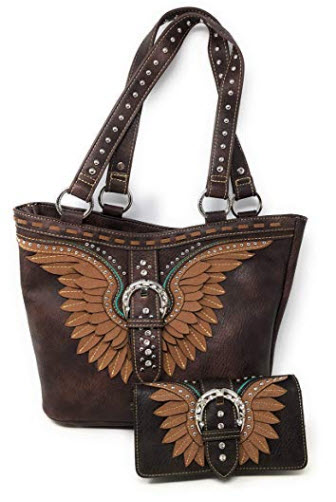 Nickanny's Set of Women's Concealed Carry Hobo Double Flat Strap Purse with Angel Wi ...