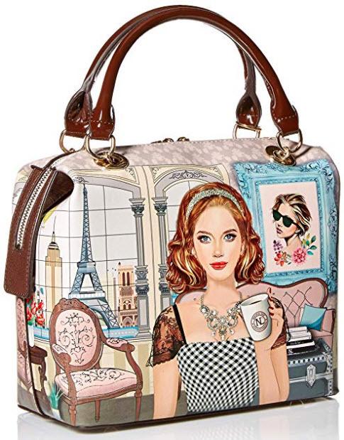 Nicole Lee Pink Pastel Fashion Print Women's Structured Handbag Shoulder Bag