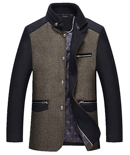 Nidicus Men Winter Warm Thicken Tweed Single Breasted Wool Blend Pea Coat.