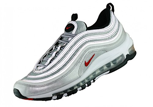 nike Womens Air Max 97 OG QS Running Trainers 885691 Sneakers Shoes metallic silver varsity red