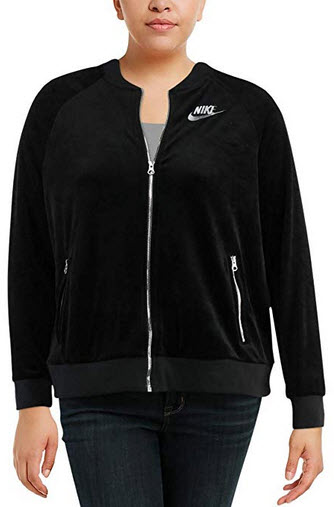 NIKE Womens Plus Velour Fitness Track Jacket black metallic silver
