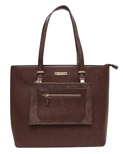 Nikky Solid Women's Spacious Fully Lined Brown Tote Shoulder Bag Shoulder Bag