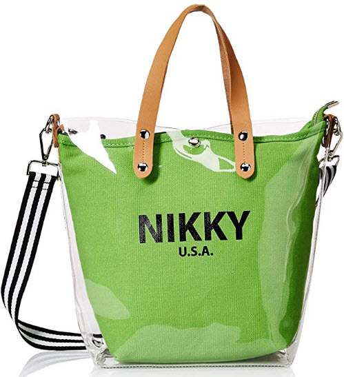 Nikky Women's Fashion Clear Spacious Tote Bag With Green Removable Pouch Shoulder Bag