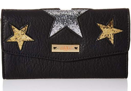 Nikky Women's RFID Blocking Wallet Glitter Stars [Black] Clutch Organizer Travel Purse One ...