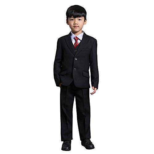 NIMBLE Boys Baby 3 Piece Formal Suit Set Jacket Vest Trousers 2-14Y Black