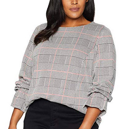 Nine West Womens Plus Size Long Sleeve Ruffle Cuff Knit Plaid Top black cinnamon multi