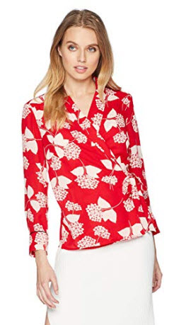 Nine West Women's Printed JKT with Wrap Tie Detail and Cuffed Sleeves, cherry blush