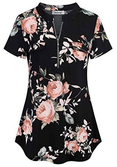 Ninedaily Women's Summer Tops Short Sleeve Casual Blouse Zip Floral Tunic Shirts, black pi ...