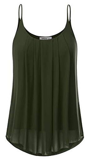 NINEXIS Womens Sleeveless Pleated Chiffon Layered Cami Tank Top, olive