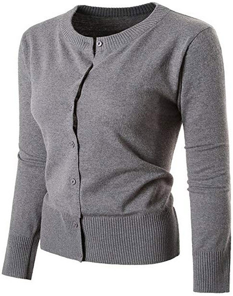 Nipogear Women's Long Sleeve Button Down Soft Knit Cardigan Sweater grey