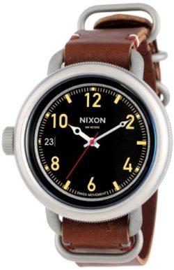 Nixon Men's A279-019-00 October Leather, Black / Brown Analog Display Watch