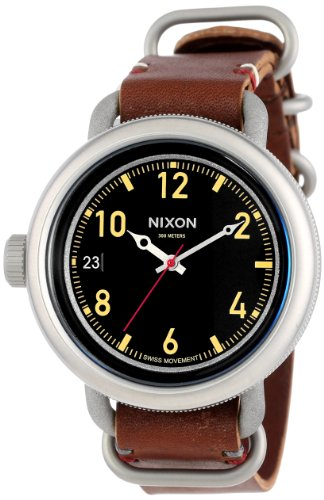 Nixon Men's A279-019-00 October Leather, Black / Brown Analog Display Watch
