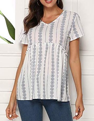 Nlife Women's Summer Floral Print Top V Neck Blouse Short Sleeve Tops Peplum Blouse Shirt, ...