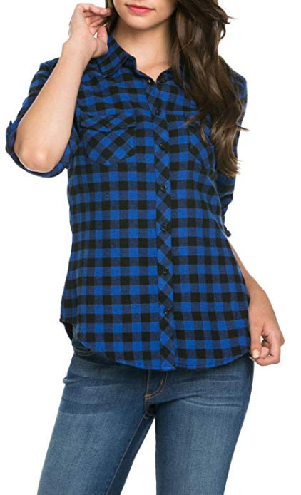 Noble U Women's Roll-up Sleeve Flannel Button up Shirt royal