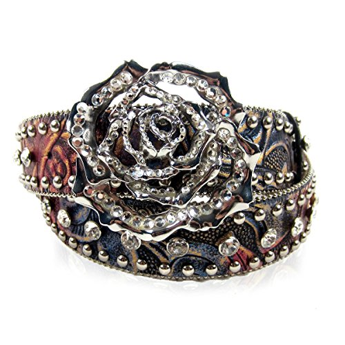Nocona Women's Studded Rose Leather Belt – N3412097 XL