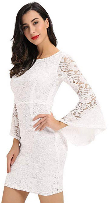 Noctflos Womens Bell Sleeves Full Lace Bodycon Cocktail Wedding Guest Dress white