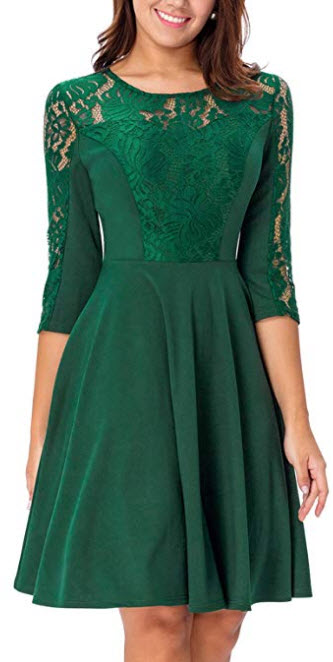 Noctflos Women's Green 3/4 Sleeve Fit and Flare Lace Cocktail Dress for Wedding Party green
