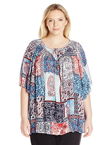 Notations Women's Plus Size Printed Elbow Sleeve Peasant Top with Neck Beading