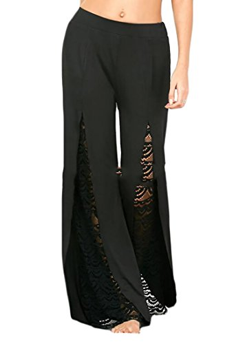 NQ Women's Lace Front Slit High Waist Wide Leg Palazzo Pants Trousers by Nanquan-women clothes