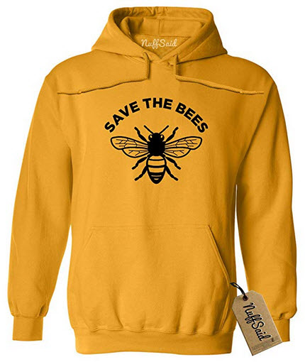 NuffSaid Save The Bees Hooded Sweathisrt – Unisex Honey Bee Environment Hoodie gold