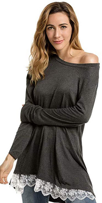 Nuur Womens A-Line Tunic Blouse Shirt Long Sleeved Top with Pretty Lace Hem Detail, Casual Fit L ...