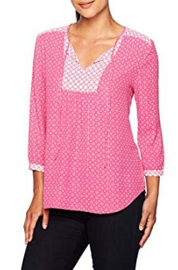 NYDJ Women's Petite Size Mixed Print Peasant Blouse, polynesian dots pink