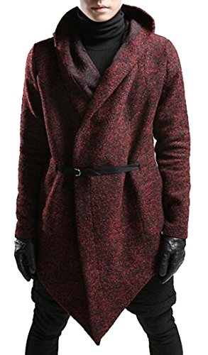 Oberora Mens Trench Coat Hooded Irregualr Casual Wool Blend Pea Coat with Belt