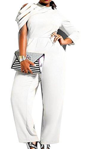 Oberora Women Stylish Long Irregular Sleeve Solid Plus Size Wide Leg Chiffon Long Romper Jumpsuit