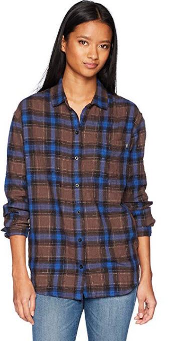 Obey Womens Eldorado Boyfriend Fit Button Down Flannel Shirt brown multi.